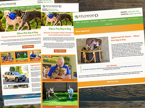 Website design and branding for Scottsdale AZ pet care facility