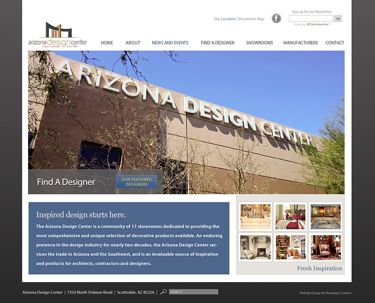 Custom WordPress for Arizona Design Center. For 3 years worked as their digital and print provider.