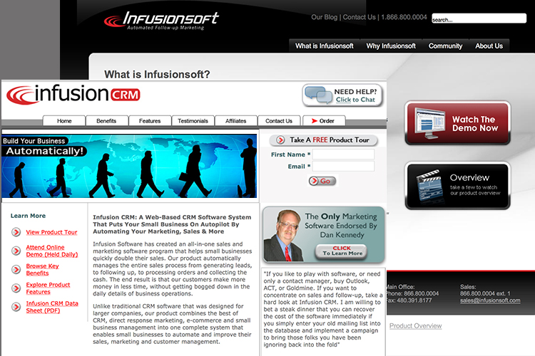 At Infusionsoft I built several web pages, landing pages and went through 3 re-branding projects.